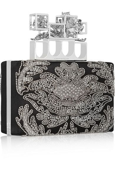 Knuckle embellished box clutch Alexander McQueen