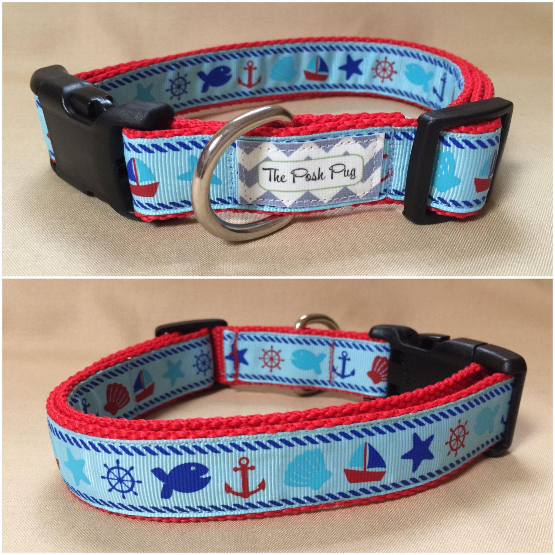 "Handmade Aqua Sailor 1"" Adjustable Dog Collar by"