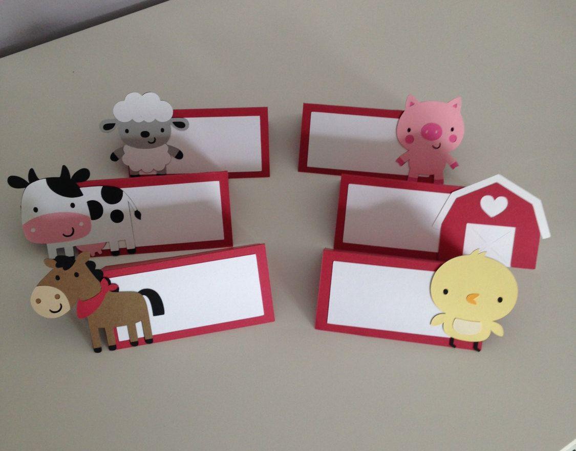 12 Farm Animal Place Cards Farm Animal Food Table Card