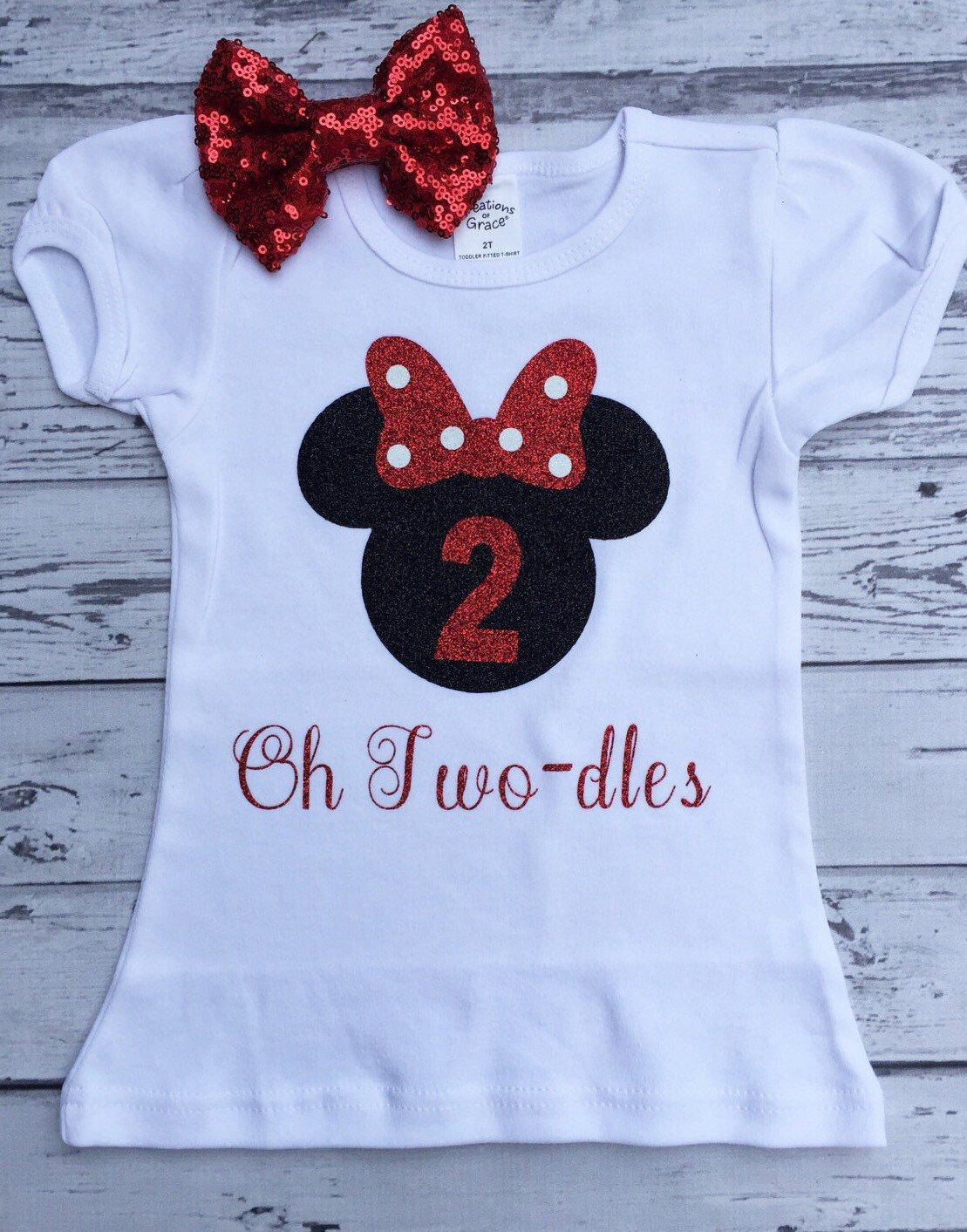 Black And Red Personalized Minnie Mouse 2nd Birthday Shirt Toodles Oh Twodles