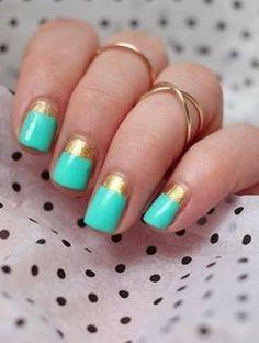 gold and aqua nail polish, nail art,