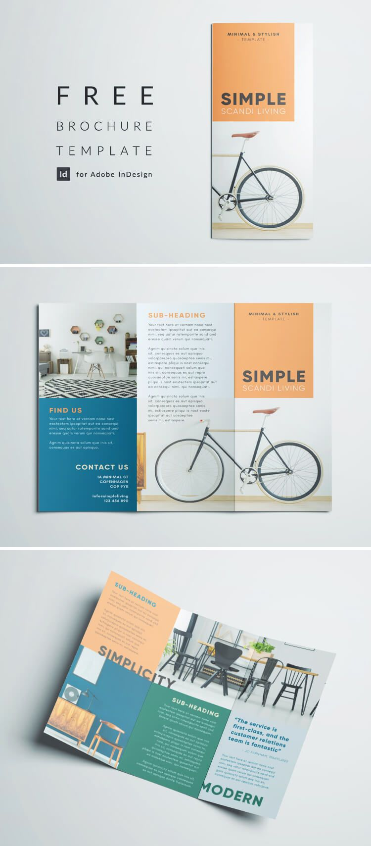 Simple Triold Brochure Template Free Indesign Minimalist Scandi Layout