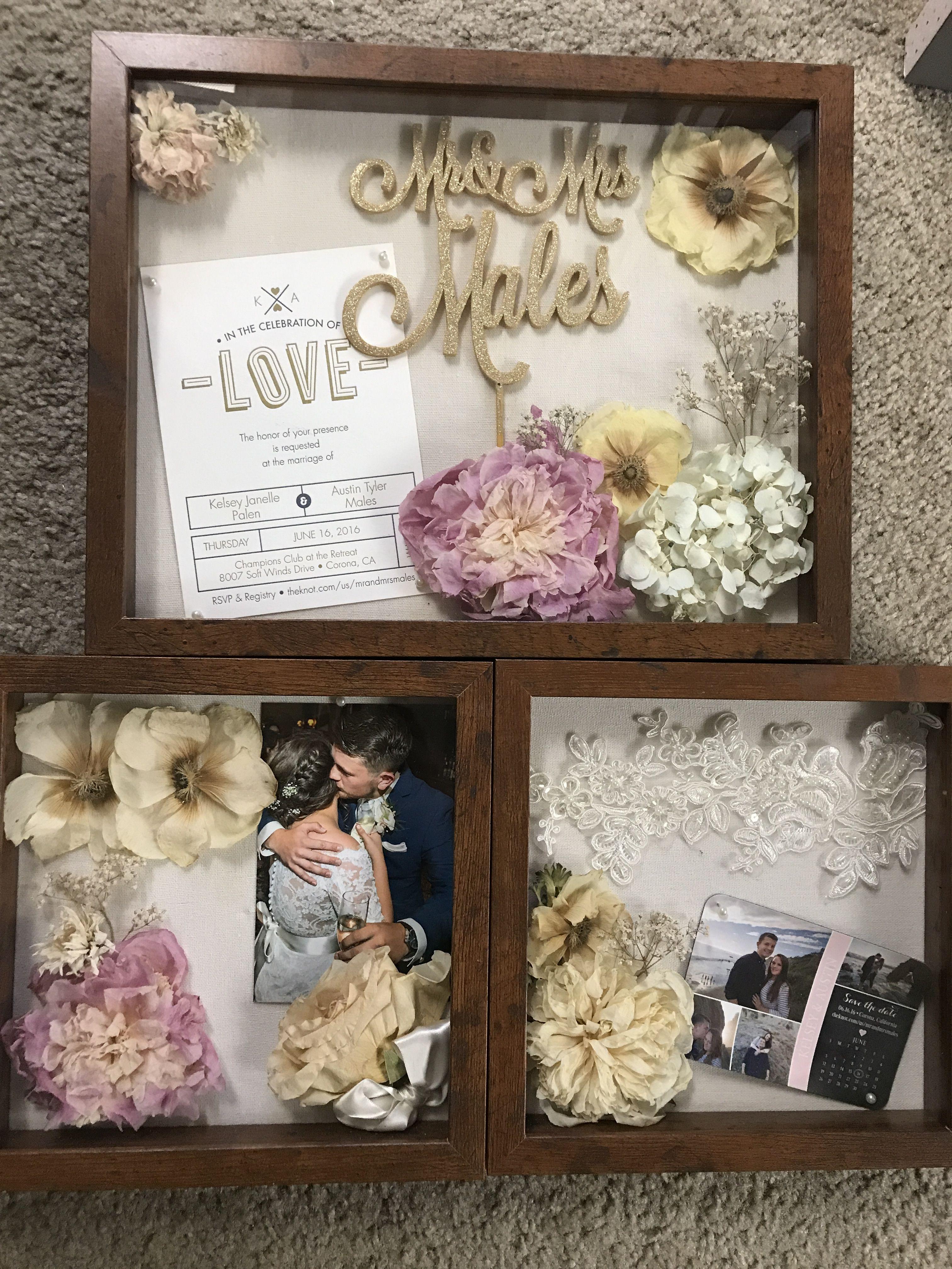 Wedding shadow box! Flowers from bouquet, invitation, cake ...