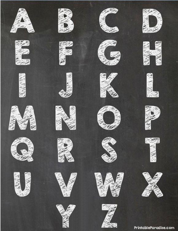 Exhilarating image within printable chalkboard letters