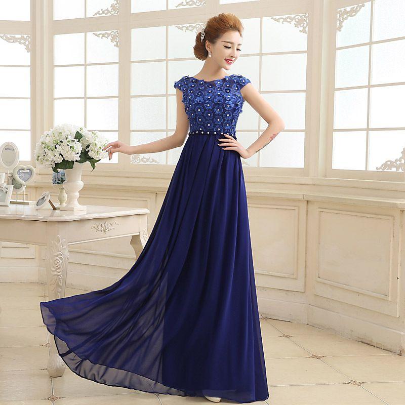 Chiffon Evening Dresses Long Royal Blue Sleeveless Formal Evening