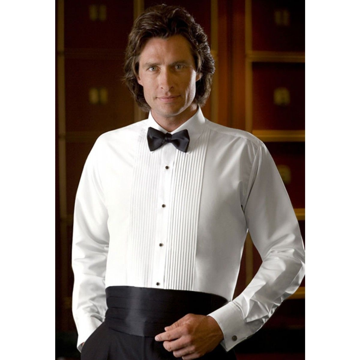 White Laydown Collar Tuxedo Shirt Chesti De Purtat