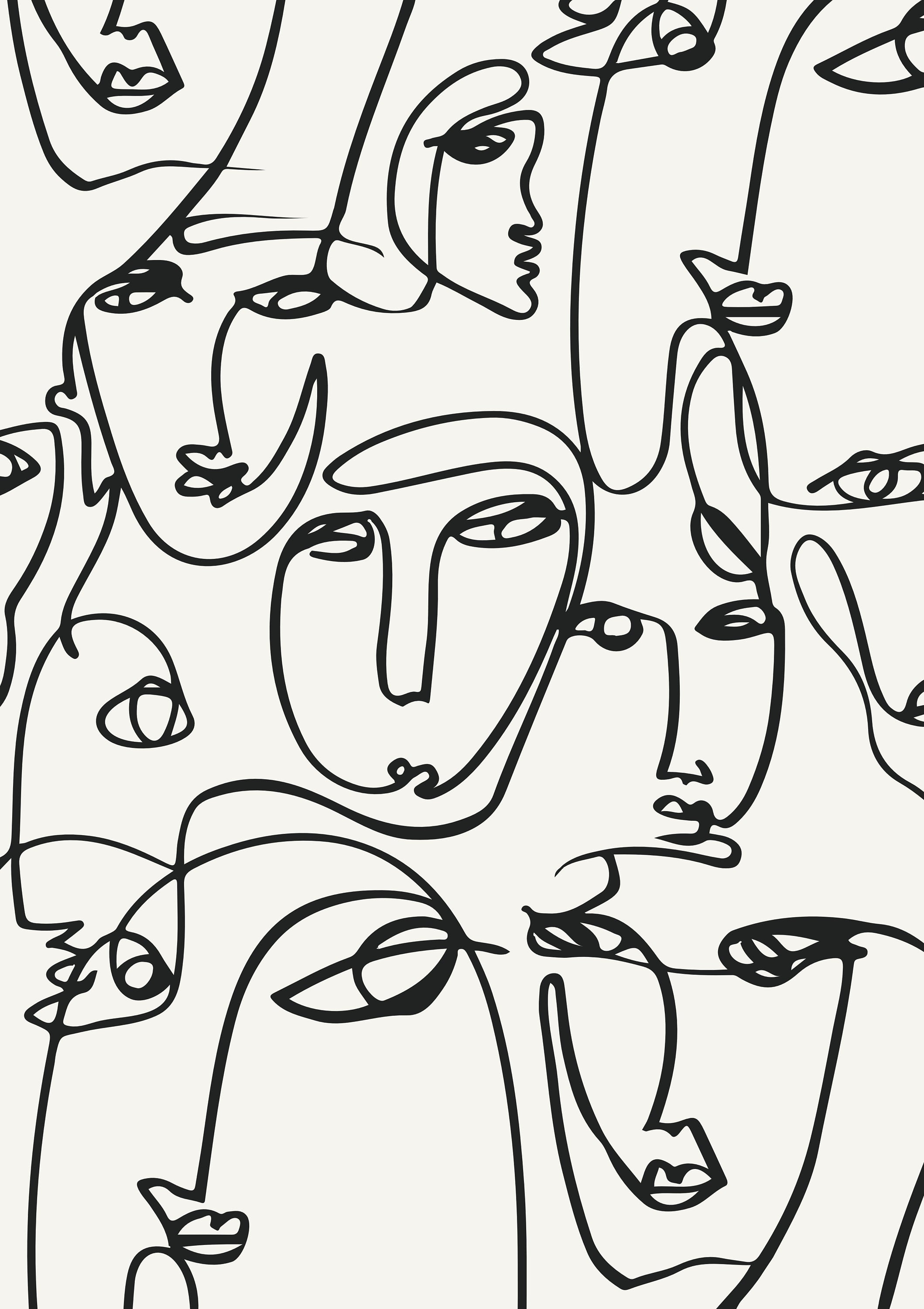 Printed abstract faces in lines one line artwork print