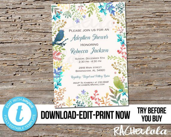 editable bird adoption baby shower party invitation printable
