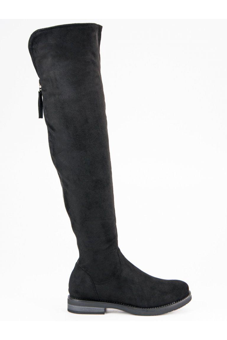 c20fd1d13 Čierne čižmy nad koleno s ozdobným lemom CnB | Čižmy nad kolená ...