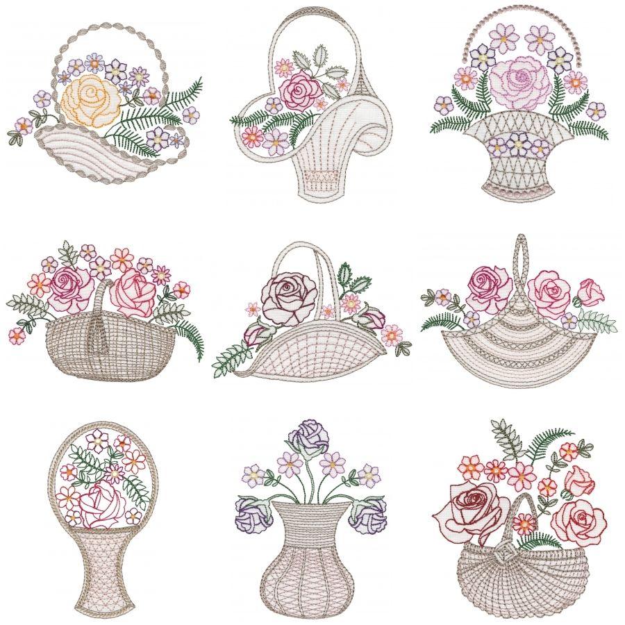 Colorwork Rose Baskets Medium   Machine embroidery designs, Embroidery designs, Rose basket
