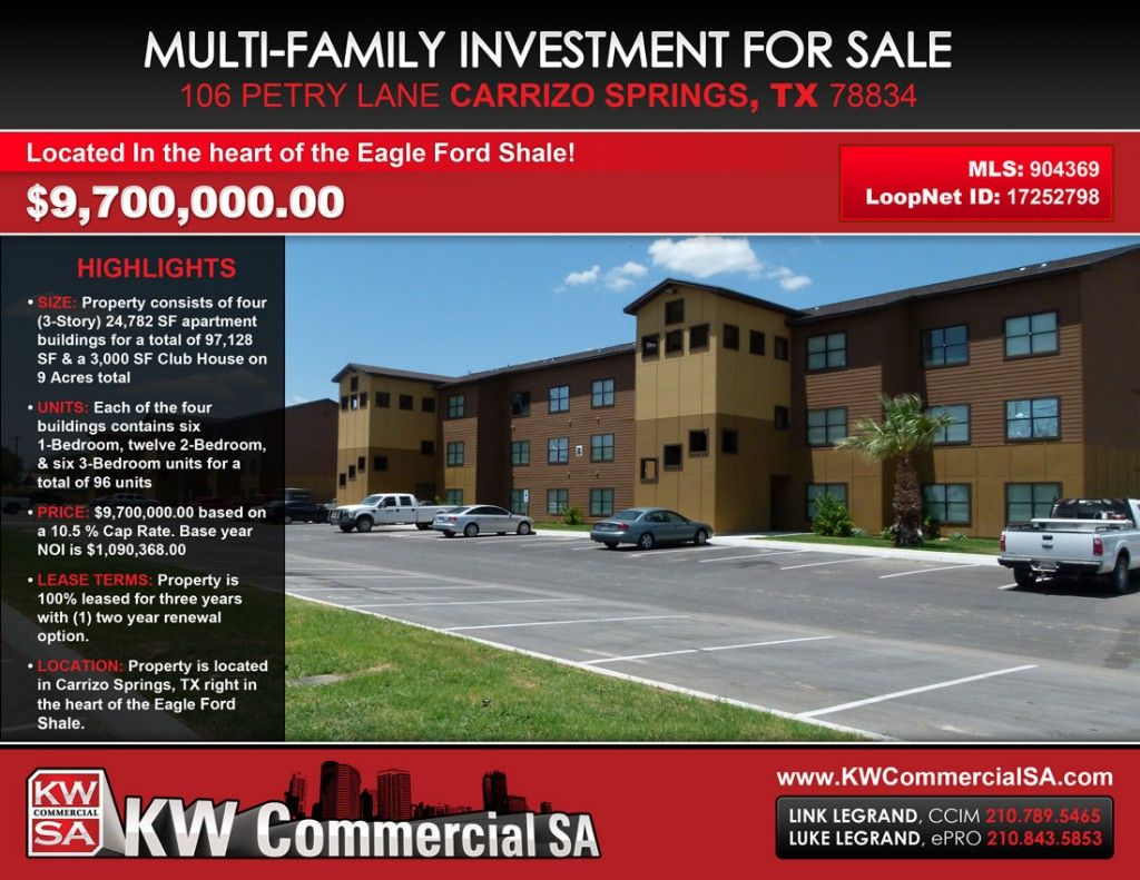 Attractive Eagle Ford Shale Apartment Complex For Sale!   Carrizo Springs, Texas   96