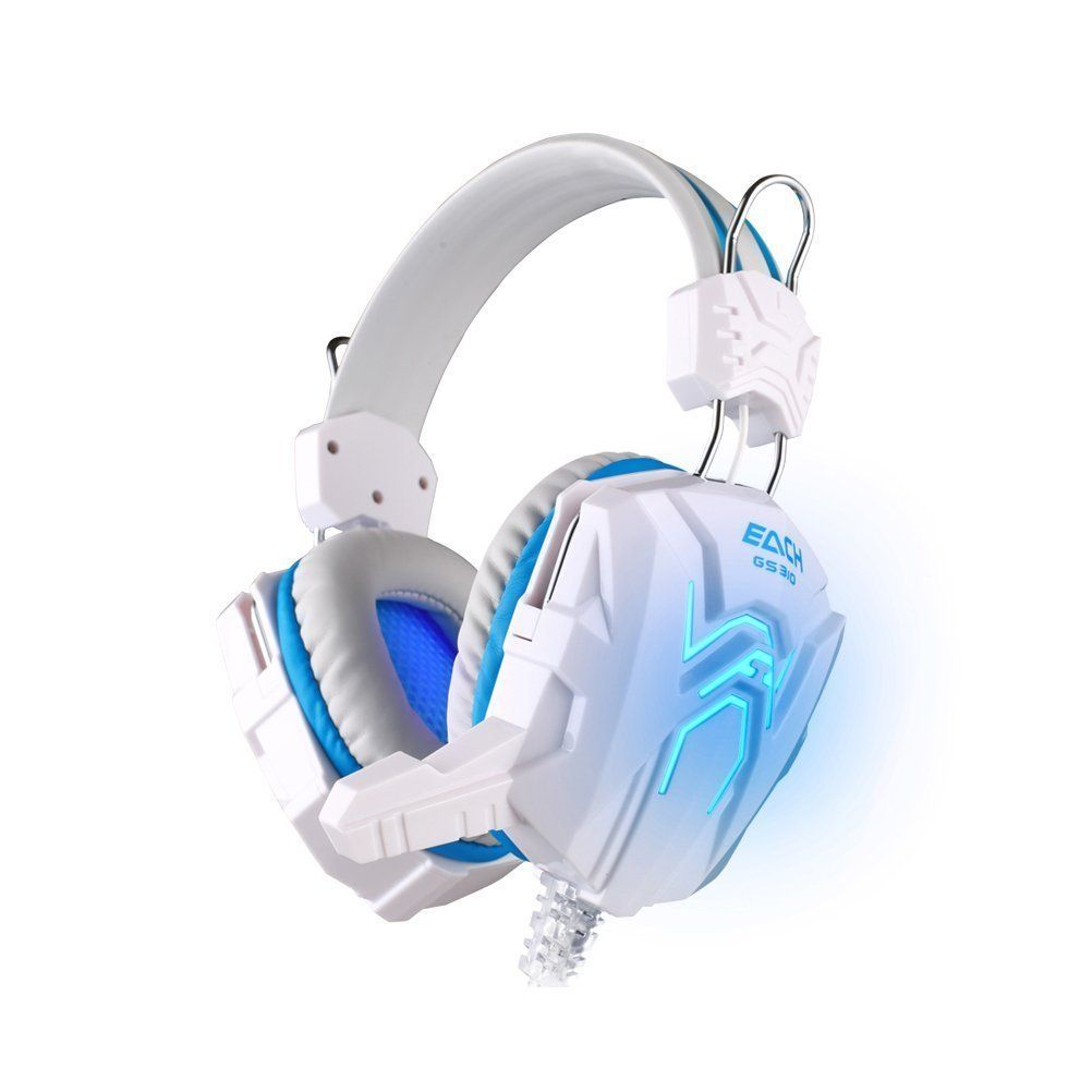 Kotion Each Gs310 Over Ear Gaming Headphones With Mic And Led White Blue Buy Kotion Each Gs310 Over Ear Gami Headset Wireless Gaming Headset Gaming Headset