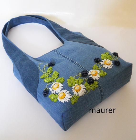Embroidered denim bag Jeans bag with ribbons embroidered Recycled fabric sac Summer floral purse Shoulder bagful Eco friendly tote bag