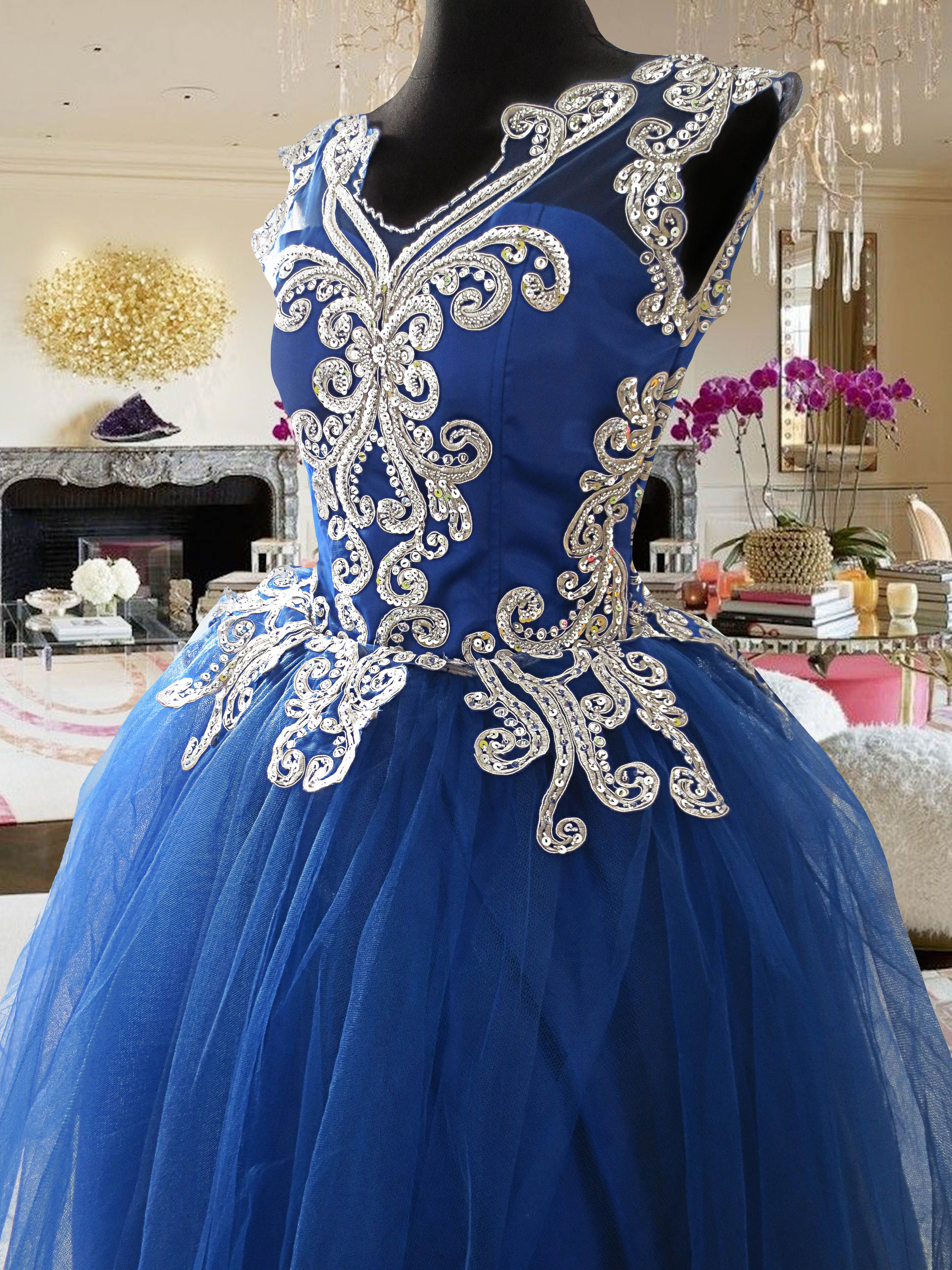 blue and white lace tulle ball gown for rent Php3,000. www