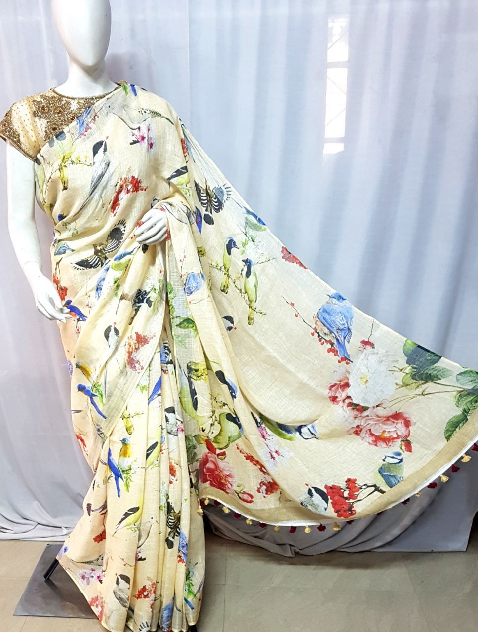 1f22e890d3 Digital print linen sarees   Digital print linen sarees for digital ...