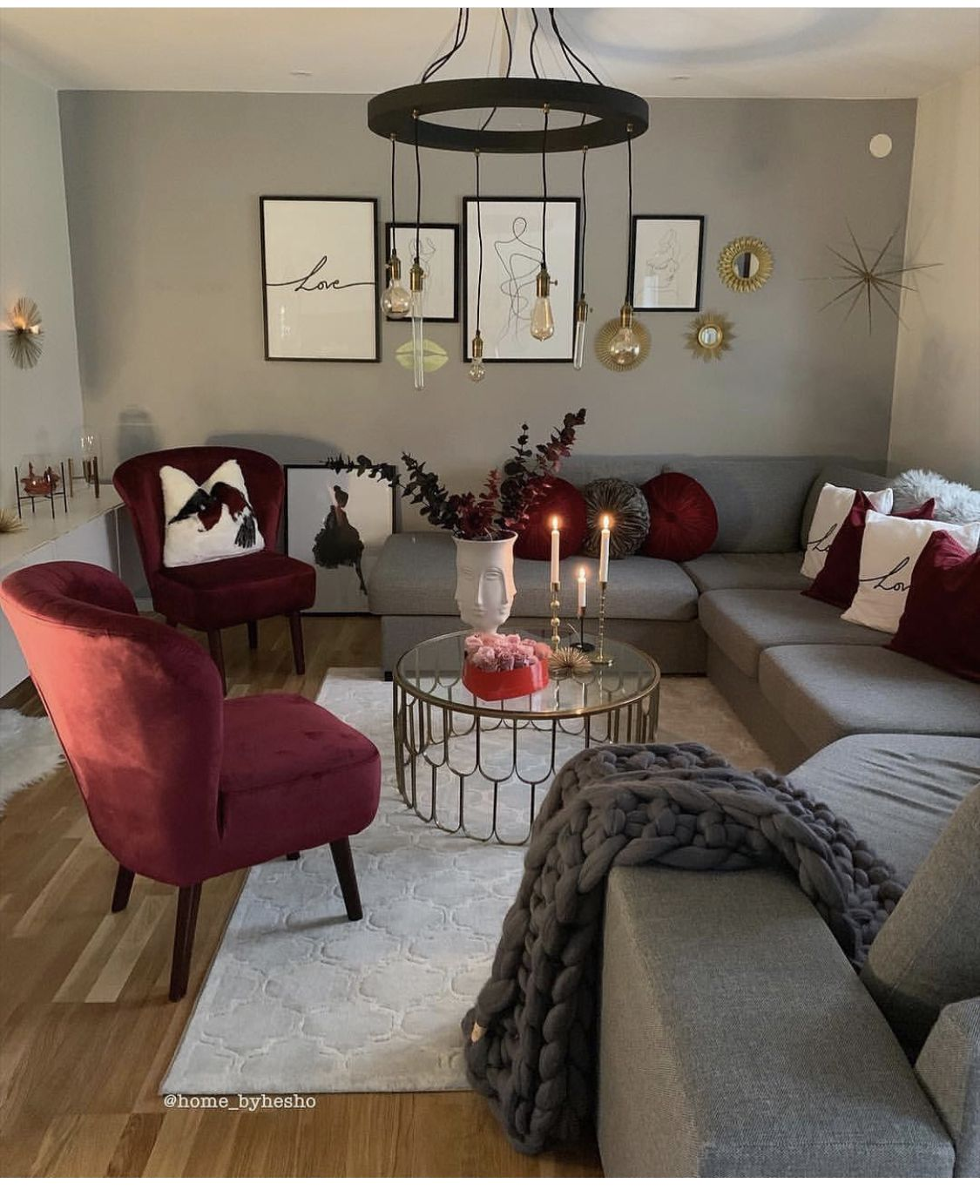 Maroon Grey And White Living Room: Living Room Decor Apartment