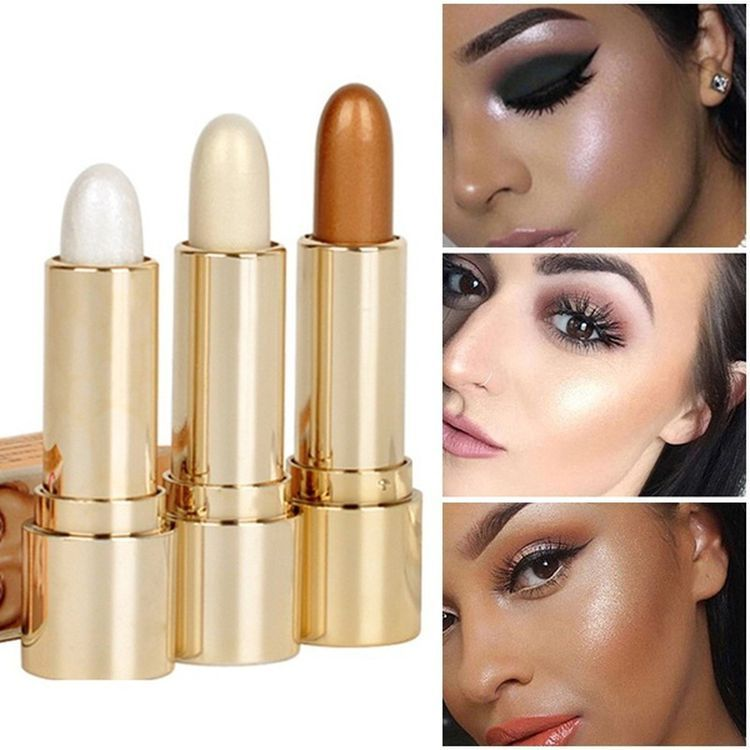 3 Colors Brighten Highlighter Bar Cosmetic Face Contour Bronzer Shimmer Highlighter Stick Gold Glow Kit Concealer Cream Vova In 2020 Face Contouring Makeup Cosmetic Brush Set Cheek Highlighter