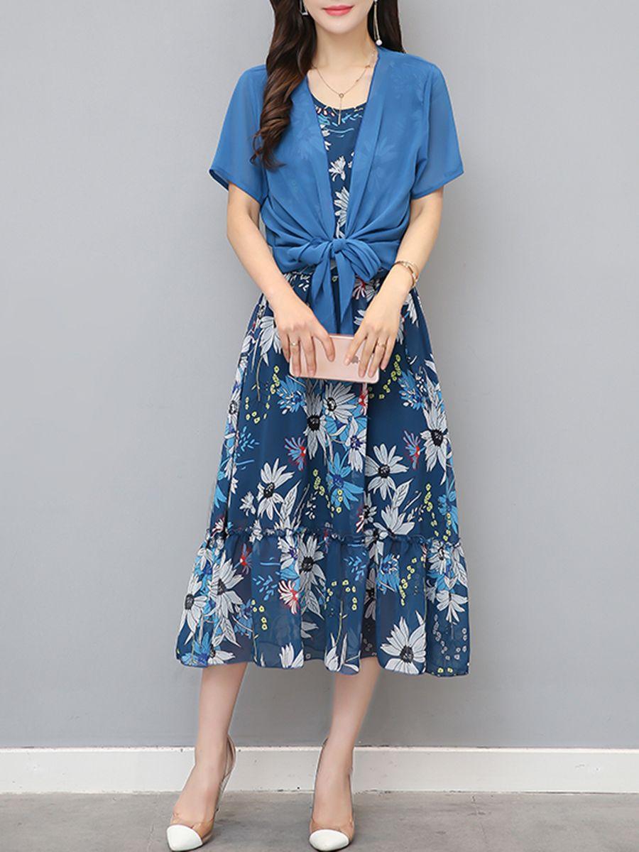 Flared ruffled hem printed twopiece maxi dress maxi dresses