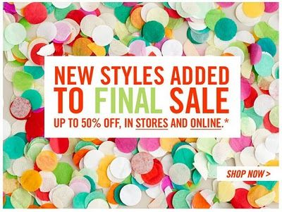 J.Crew Aficionada: J.Crew Email: UP TO 50% OFF new styles added to sale, in stores and online