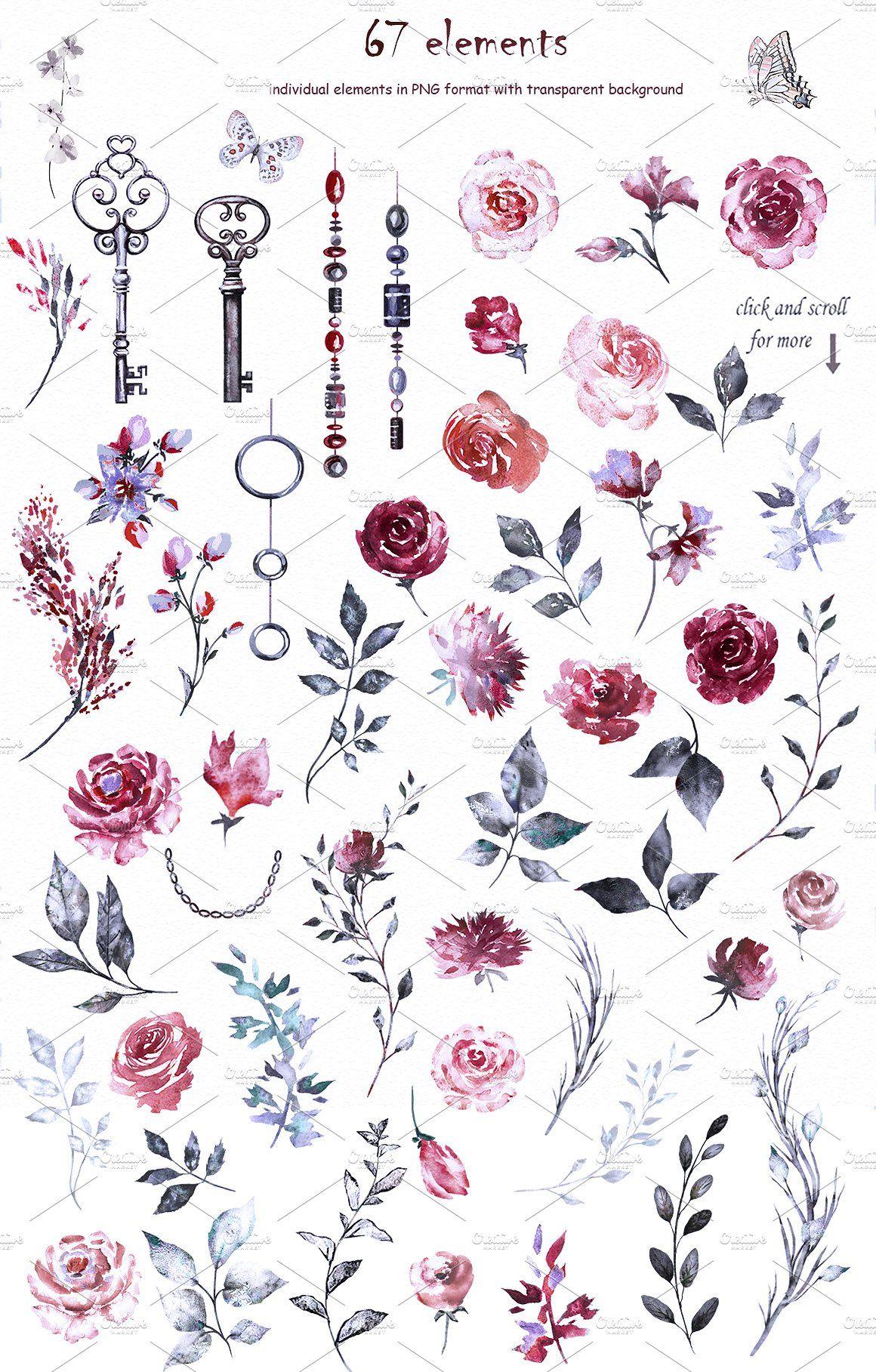 Watercolor Flower Clip Art Burgundy Цветы, Акварель
