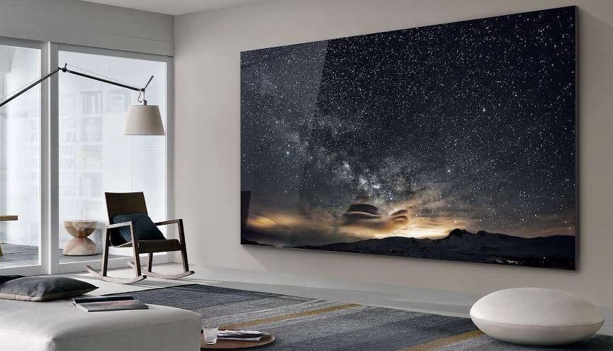 Samsung Unveils Massive 219 Inch Tv Called The Wall In 2020 Tv Wall Design Led Tv Wall Tv Wall