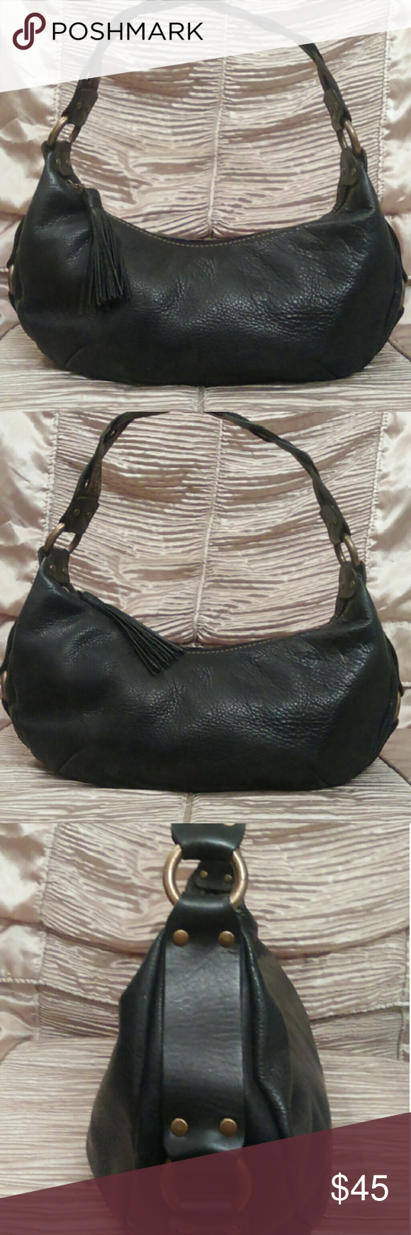 Fossil Vintage Black Leather Purse - Beautiful! Authentic vintage Fossil black leather purse, braided leather strap, retro style, brass hardware, very sturdy leather, good vintage condition. Fossil Bags Shoulder Bags