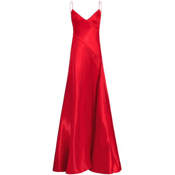 Adelle Mikado Gown ($4,490) ❤ liked on Polyvore featuring dresses, gowns,  red