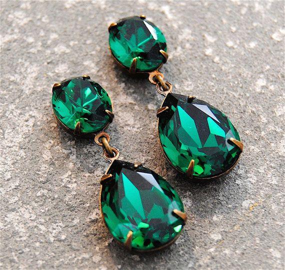 41f3d2d79 Emerald Green Earrings Swarovski Crystal Emerald Earrings Rhinestone Post  Dangle or Clip on Earrings