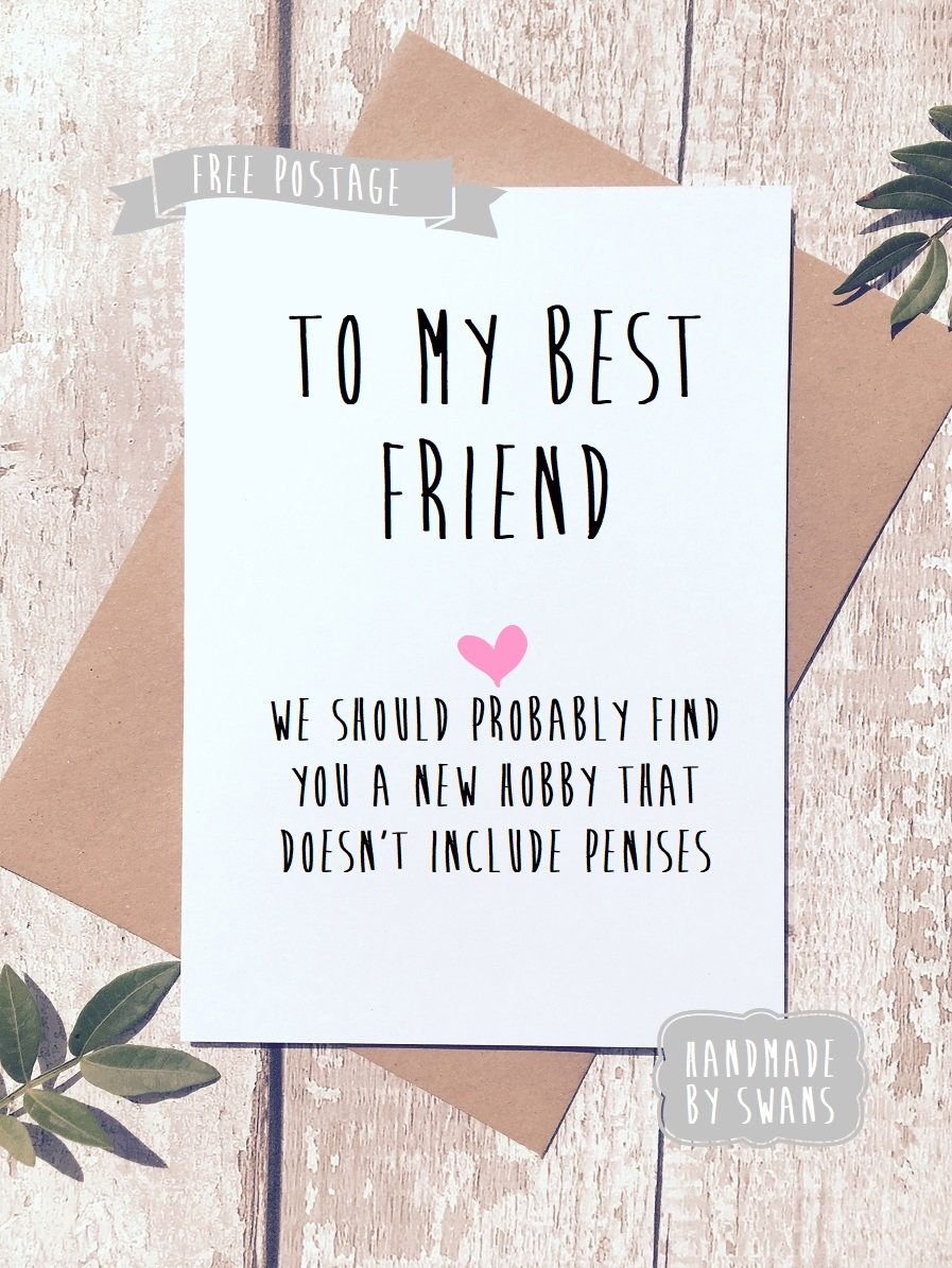 A Personal Favourite From My Etsy Shop Https Www Etsy Com Uk Listing 232923074 To My Best F Birthday Cards For Friends Cards For Friends Funny Birthday Cards