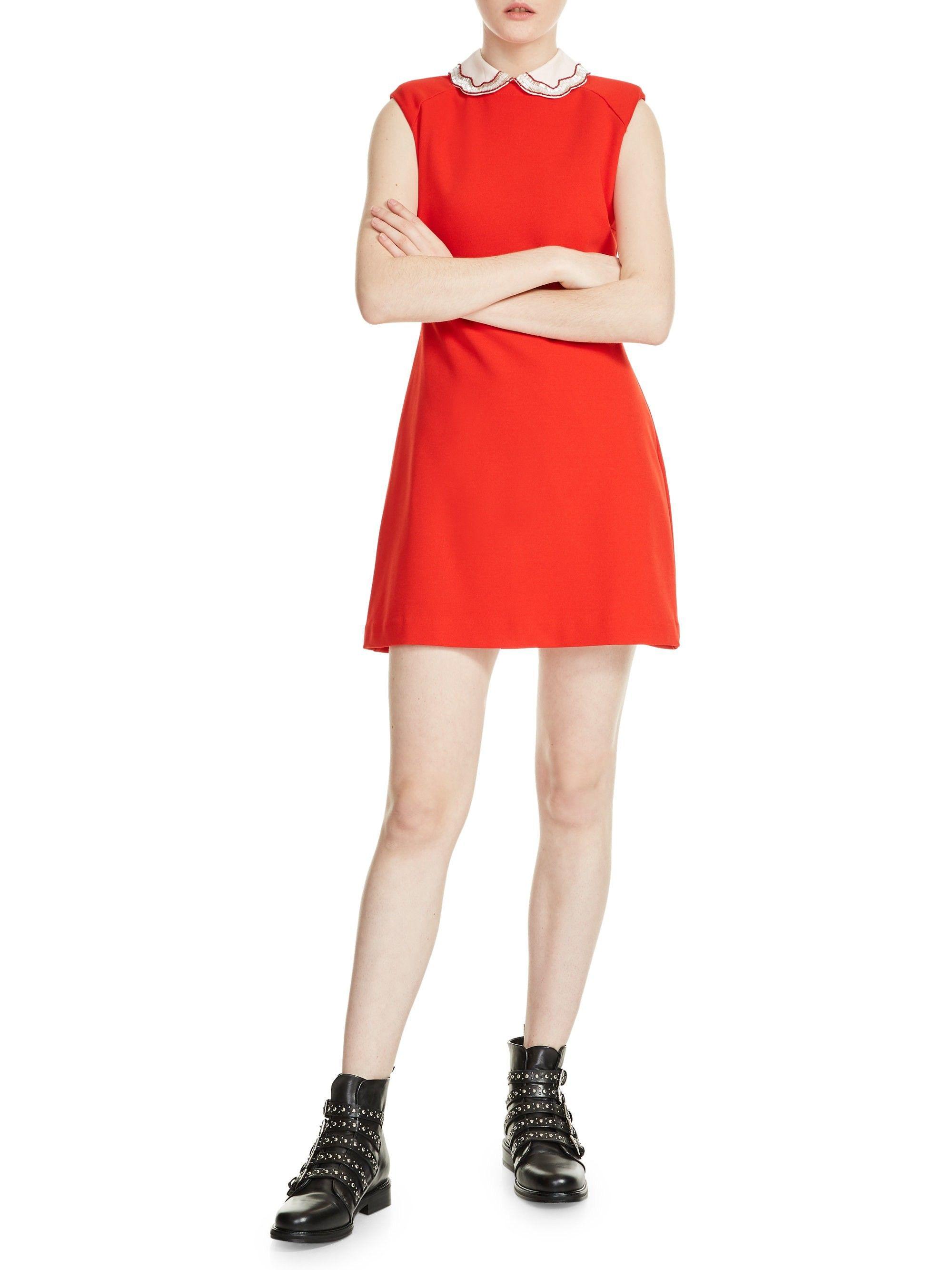 7a5c02f580d Maje Rangat Peter Pan Collar Dress - Bright Red 2 (Medium)