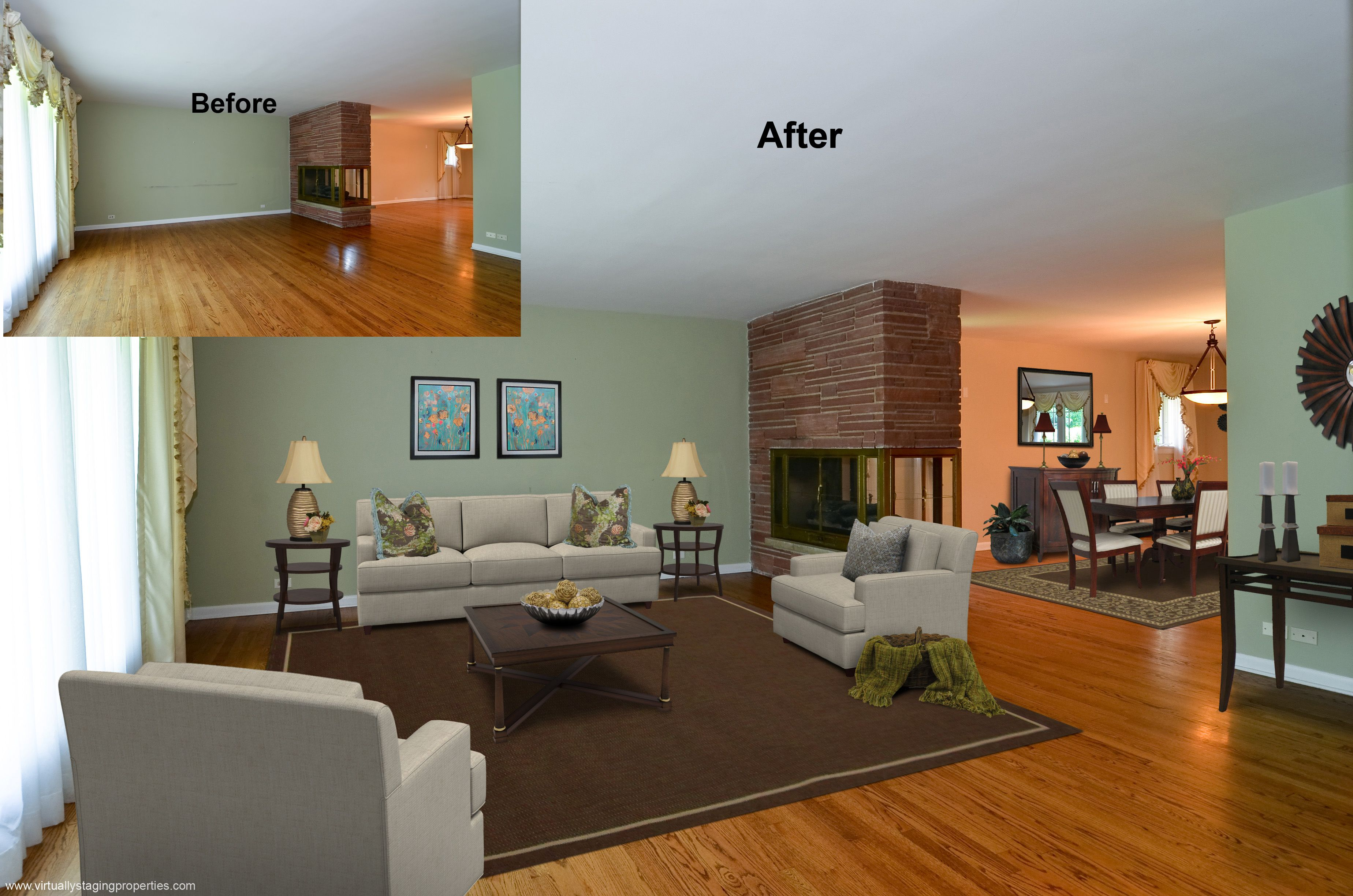 Virtual Staging Of Living Room And Part Of Dining Room