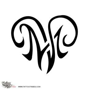 M V Heart Love Heartigrams Are Shaped By The Union Of Letters Representing The Bond Shared By The People They Represent Tattoos Love Tattoos Letter M Tattoos