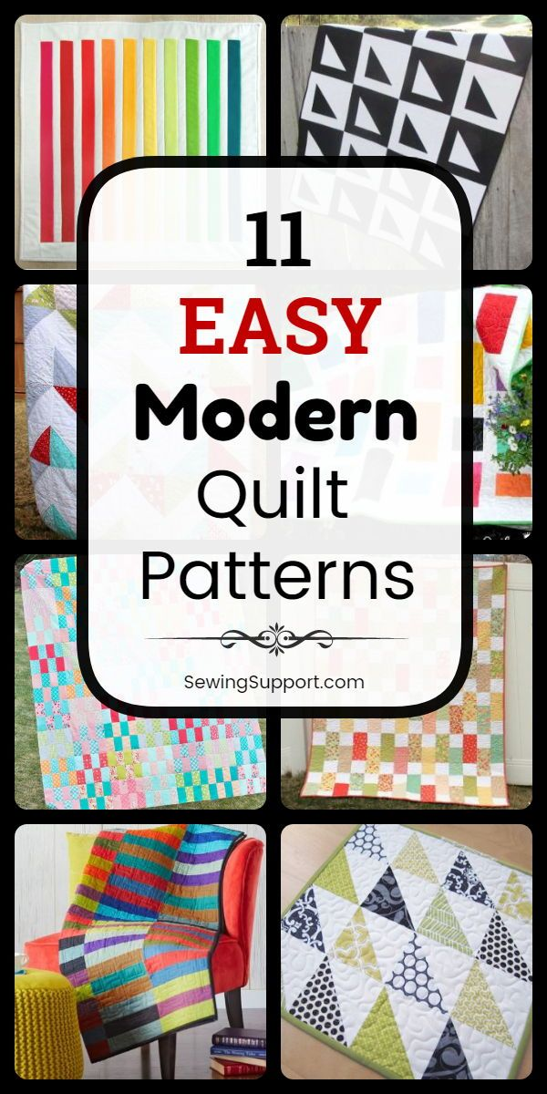 11 Free & Easy Modern Quilt Patterns #modernquiltingdesigns