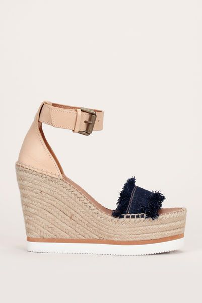 Sandales compensées façon espadrilles cuir camel denim bleu brut 1 ... 11e6e7997dd1