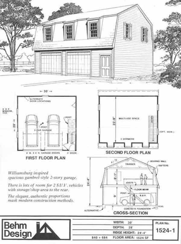 Colonial gambrel garage plans with loft 1524 1 by behm for Garage plans with loft