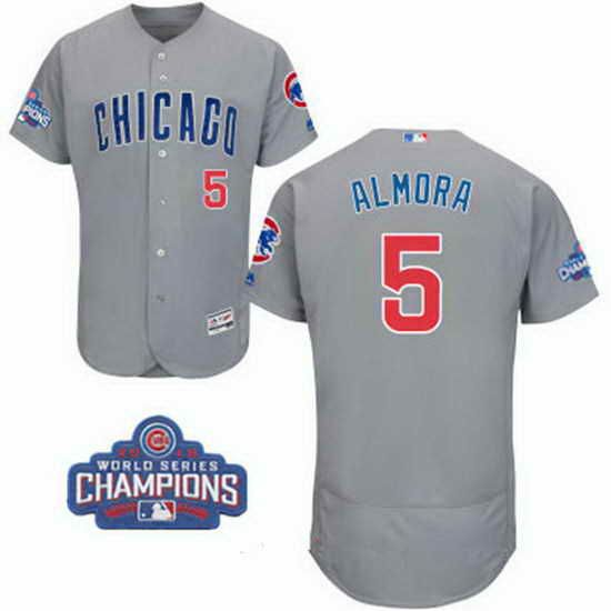 mens chicago cubs stitched 2016 world series champions patch 5 albert almora jr. gray