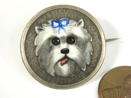 LOVELY-ANTIQUE-SILVER-ENAMEL-MINIATURE-WEST-HIGHLAND-WHITE-TERRIER-PIN-c1890