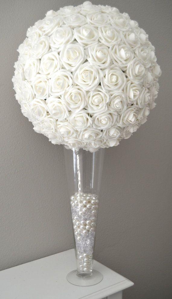White Flower Ball Kissing Ball Wedding By Kimeekouture On Etsy Wedding Centerpieces Flower Ball Flower Ball Centerpiece