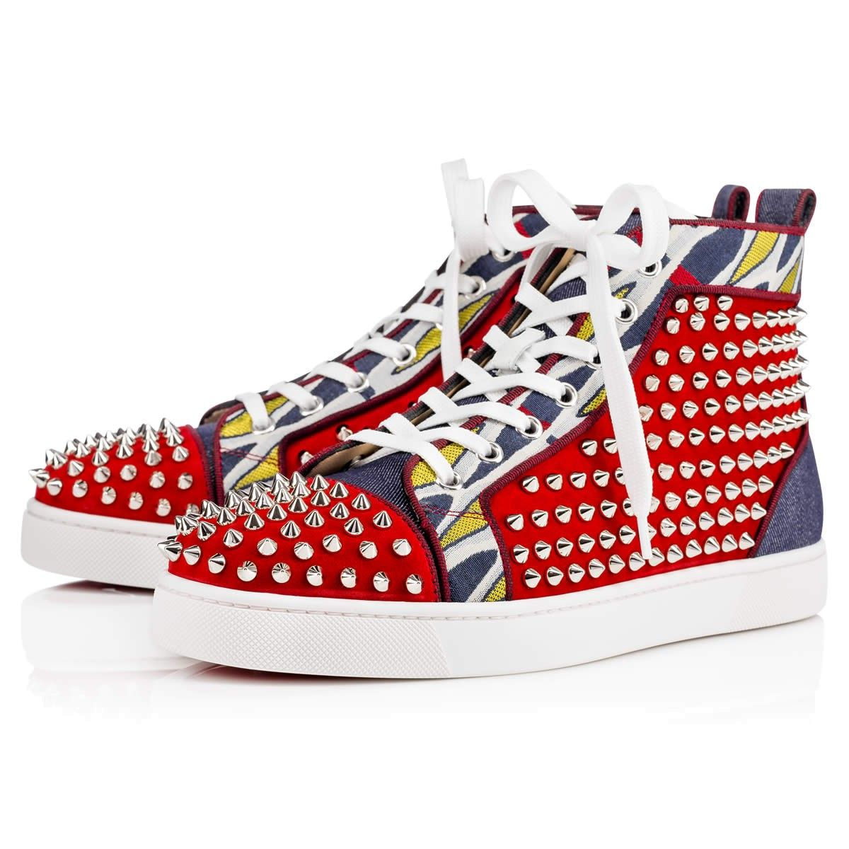 bda0216ab74 CHRISTIAN LOUBOUTIN Louis Spikes Orlato Men S Flat Version  Rougissime Silver Denim - Men Shoes - Christian Louboutin.   christianlouboutin  shoes