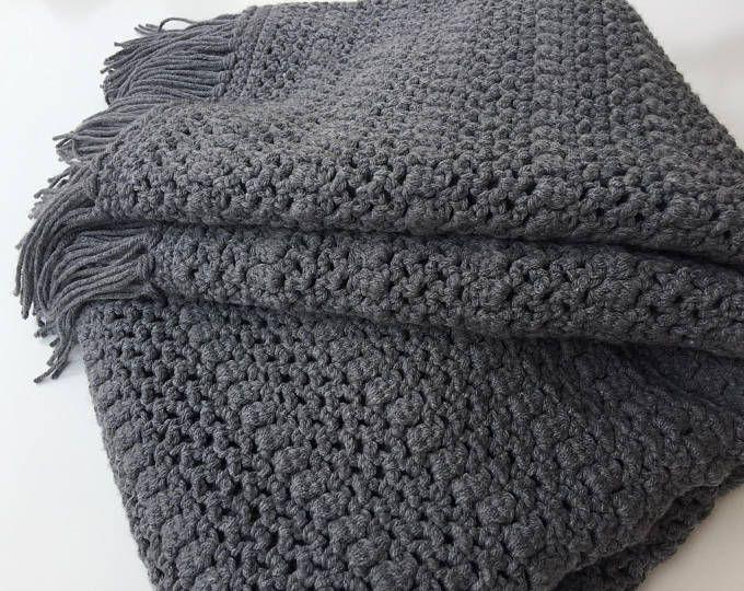 Photo of Giant knit blanket/Cozy Throw Blanket/Chunky Knit Blanket/Merino Wool Blanket/Chunky Knit Throw/Super Chunky Yarn/Chunky Wool Blanket