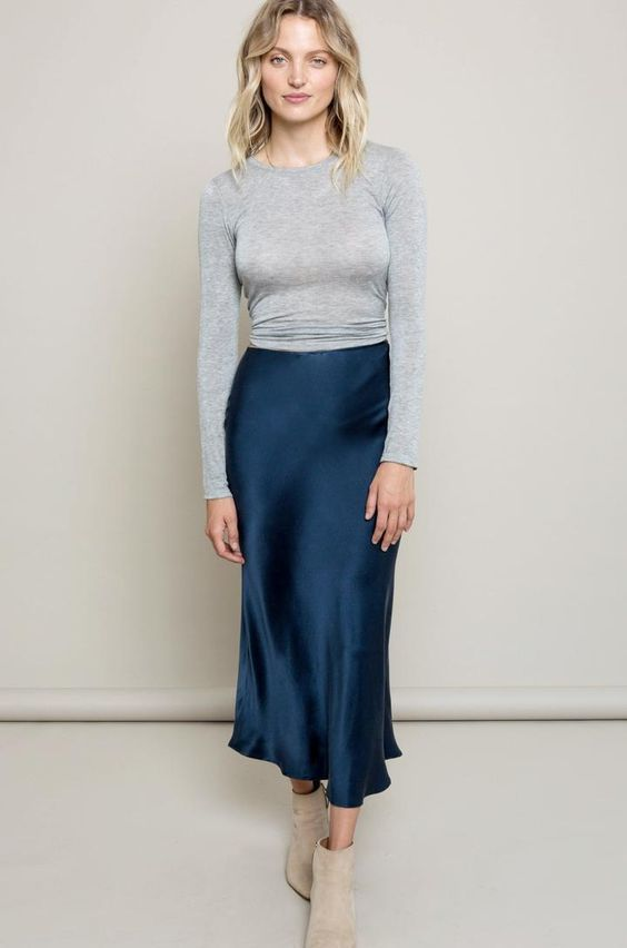Navy Silk skirt midi blue long Fall trend looks street style