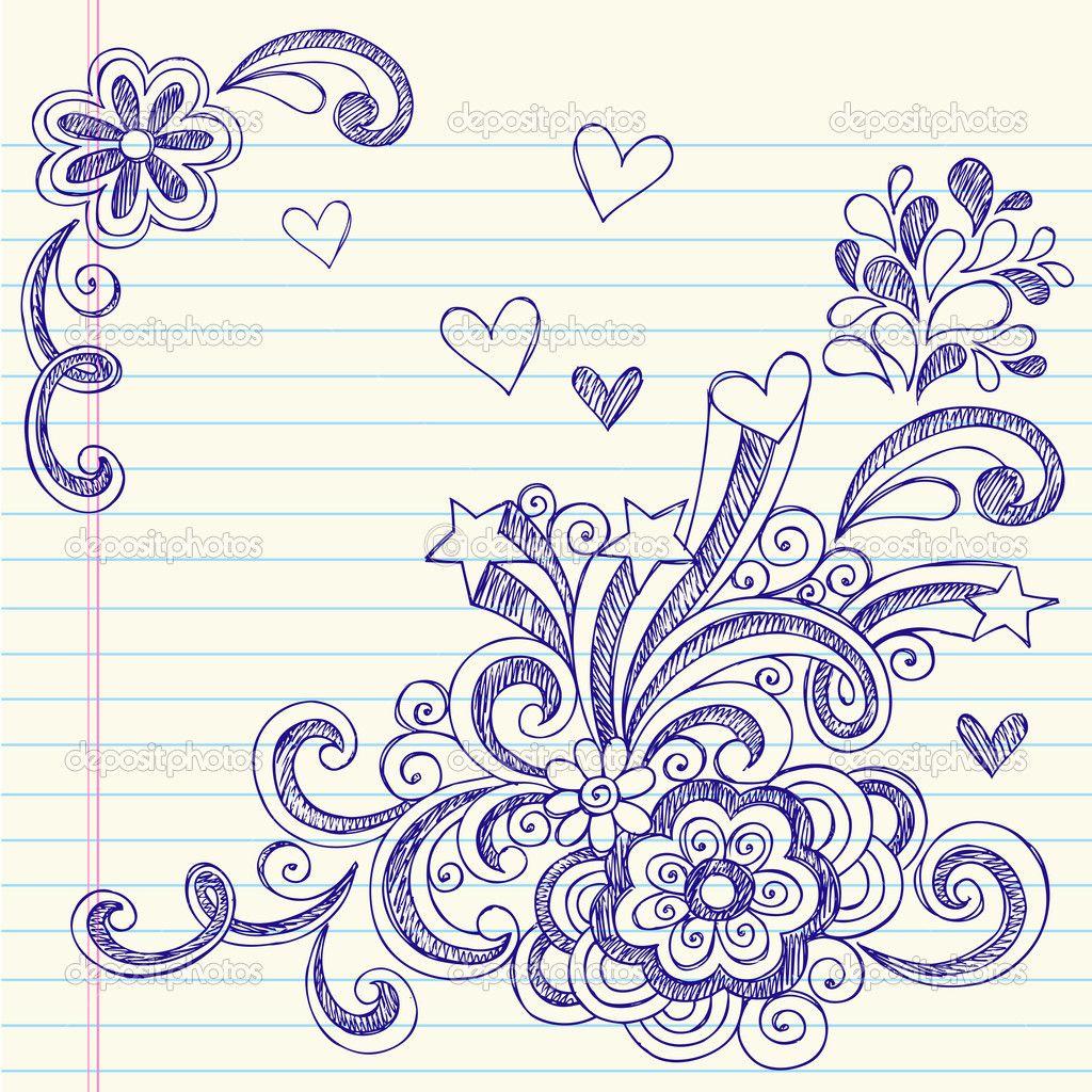 Sketchy Back To School Notebook Doodles Imagen Vectorial