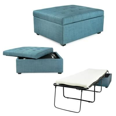 Spacemaster Ibed Cot Sized Convertible Ottoman Guest Bed In Blue Fabric Ottoman Bed Foldable