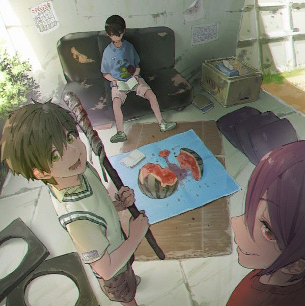 Free! - Makoto, Rin and Haru #watermelon - Here's a photo of the tree children who comitted the dreadful murder of Watermelon-san, a really shocking and graphic picture...