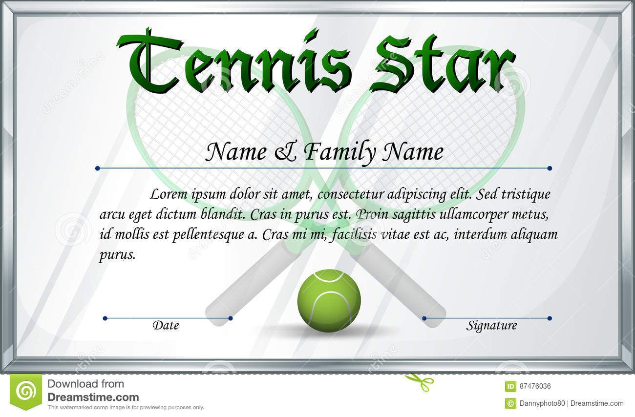 Certificate Template For Tennis Star Stock Vector for