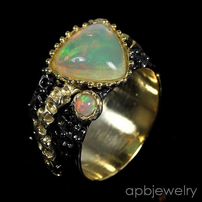 Handmade fine Art Top aaa+ Natural Opal 925 Sterling Silver Ring Size 7.5/R27137 #APBJewelry #Ring