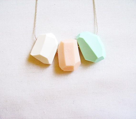 Mint Peach Geometric Necklace - Pastel Color Block -mint, peach, white - on SILVER or GOLD Chain -Rare Diamonds Collection
