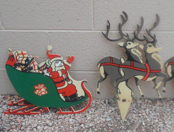 Vintage Christmas Decor Plastic Yard Art With Santa And His Eight Reindeer 5 Pieces Vintage Christmas Decorations Vintage Christmas Christmas Figurines
