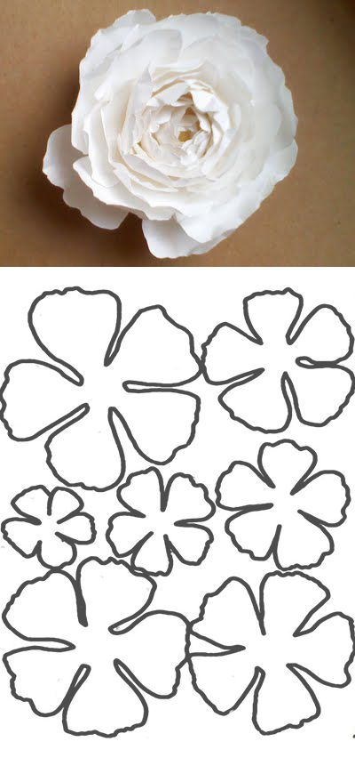 Free flower template a great tutorial from 39omg my diy wedding39 http omgdiywedding for Diy paper flower template