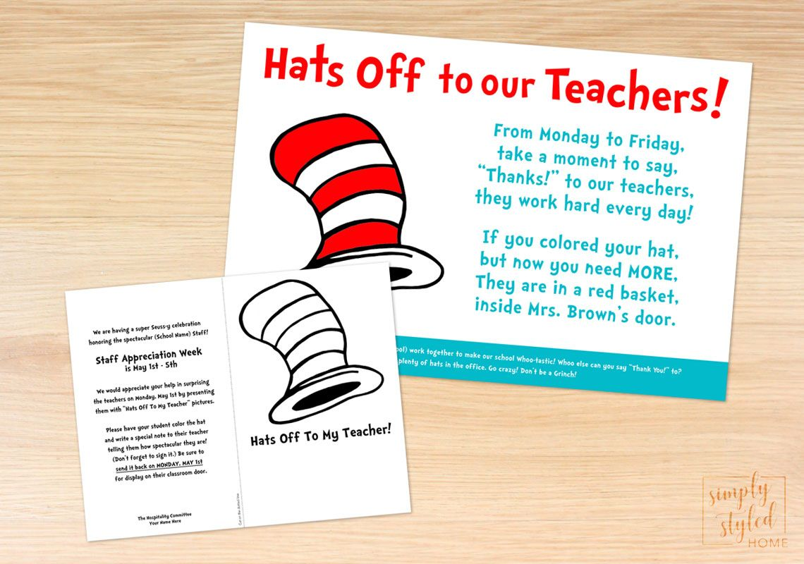 Dr Seuss Inspired Hats Off Coloring Sheet Poster And